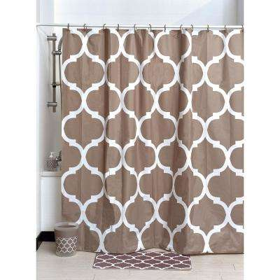 Evideco 71 in. x 71 in. Taupe Printed Peva Liner Shower Curtain Design Escal Plastic