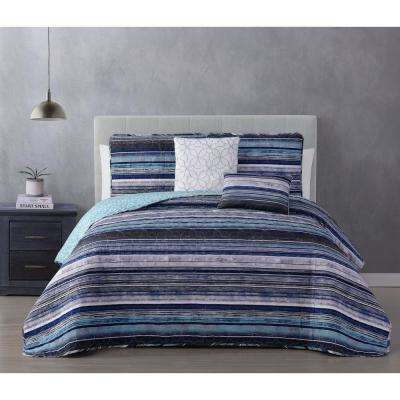 Hartley 5-Piece Blue Full/Queen Quilt Set