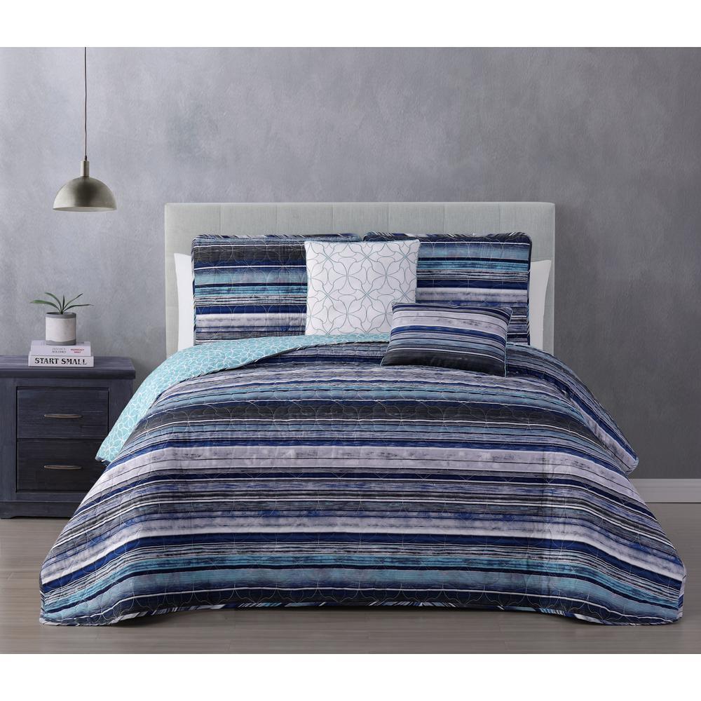 Hartley 5-Piece Blue Full/Queen Quilt Set