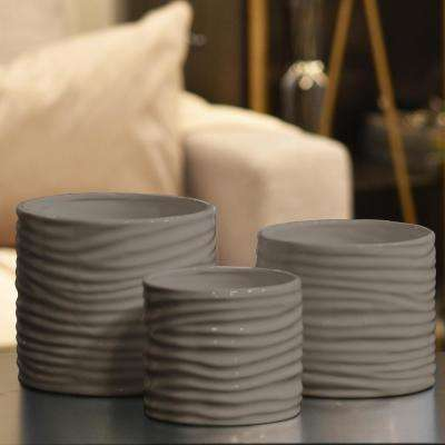 Taupe Gloss Finish Ceramic Decorative Vase (Set of 3)