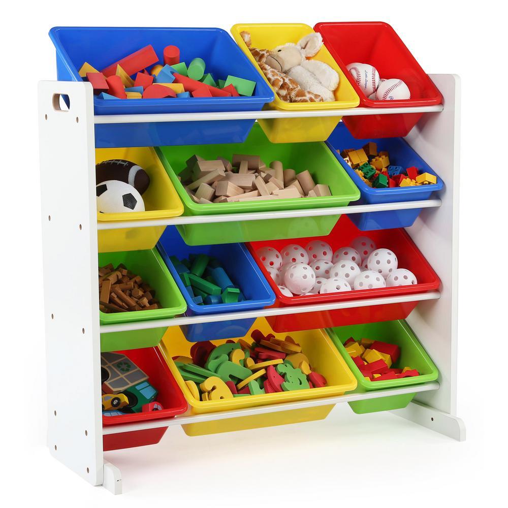 Summit Collection White Primary Kids Toy Storage Organizer With 12 Plastic  Bins