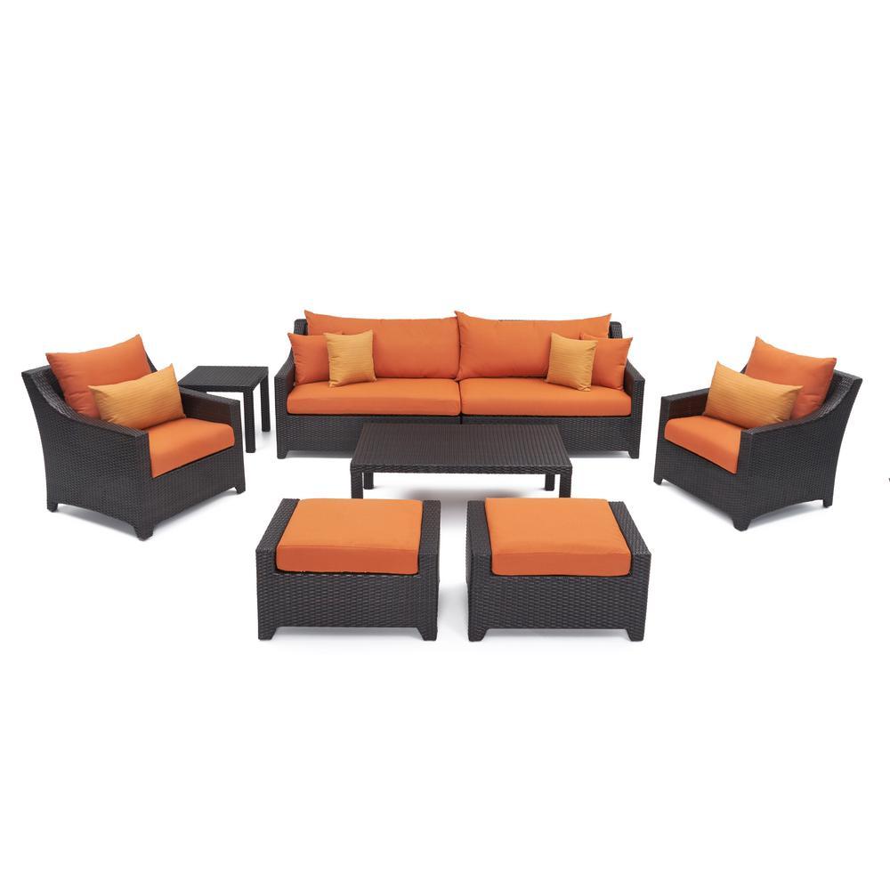 RST Brands Deco 8-Piece Patio Seating Set with Tikka Orange Cushions