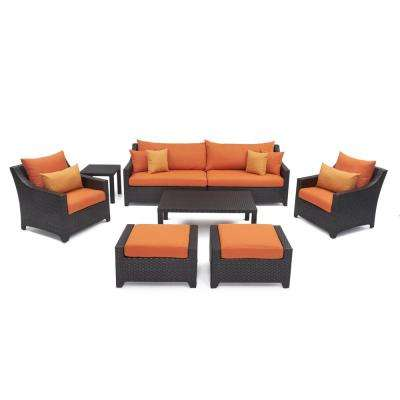 Deco 8-Piece Patio Seating Set with Tikka Orange Cushions