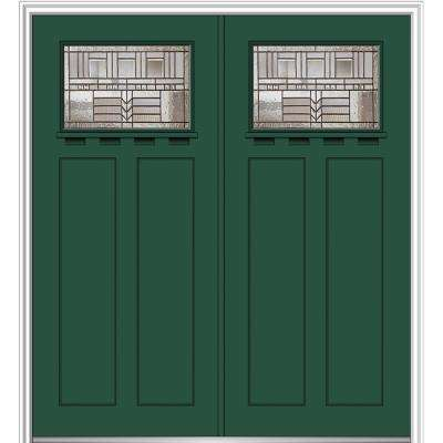72 in. x 80 in. Oak Park Right-Hand Inswing 1/4-Lite Decorative Painted Fiberglass Smooth Prehung Front Door with Shelf