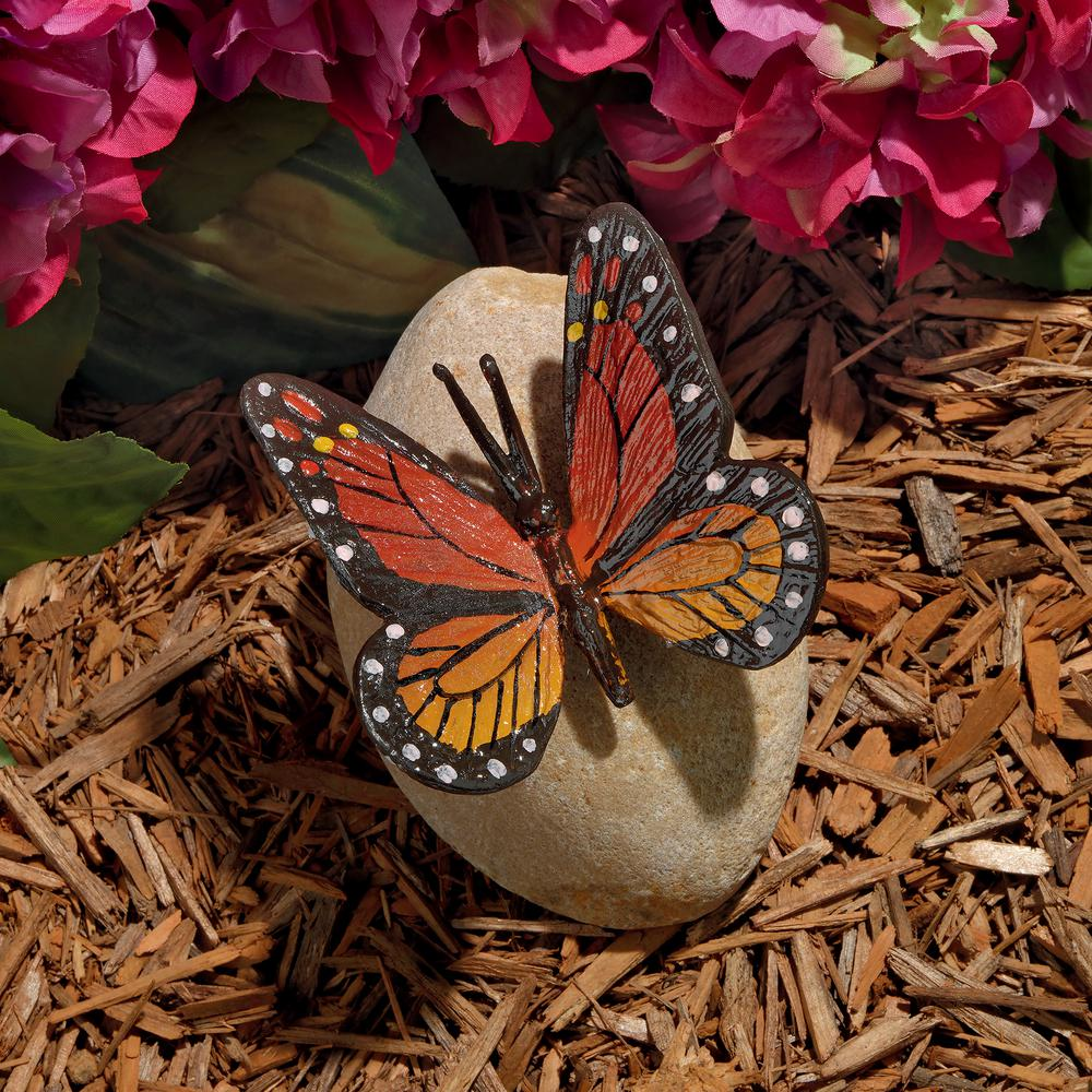 Design Toscano 5 in. H Viceroy Monarch Butterfly on Rock Statue