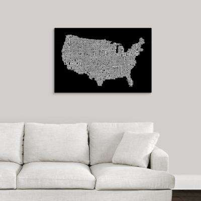 """United States Cities Text Map, Black and White"" by  Michael Tompsett Canvas Wall Art"