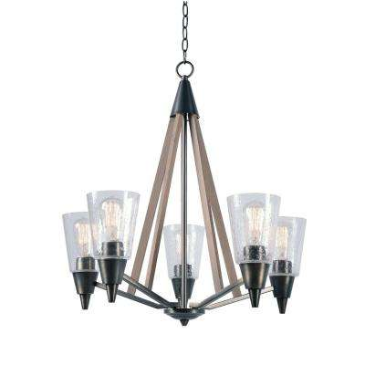 Peak 5-Light Metal Chandelier with Clear Glass Shade
