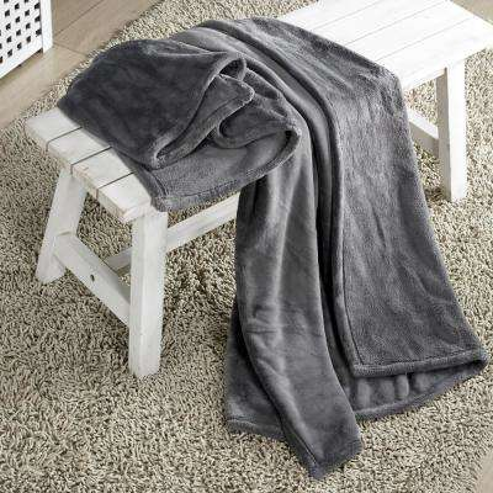 Arielle Grey Plush Throw