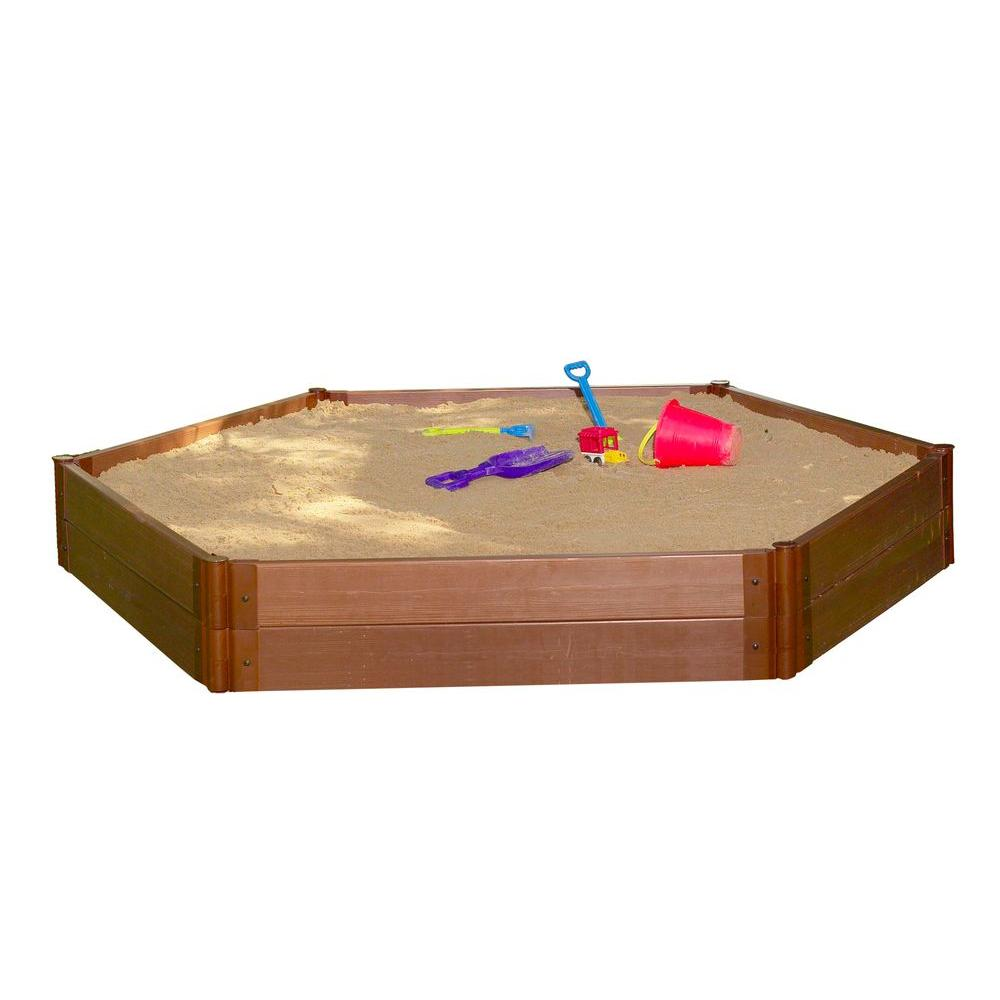 Frame It All Two Inch Series 7 ft. x 8 ft.x 11 in. Composite Hexagon Sandbox Kit