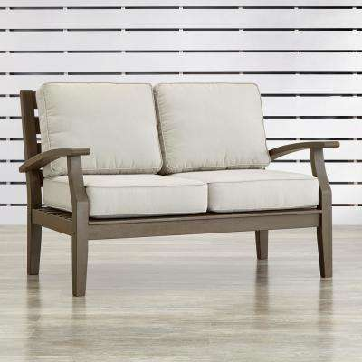 Verdon Gorge Gray Oiled Wood Outdoor Loveseat with Beige Cushions