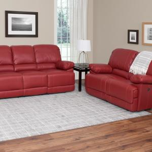 CorLiving Lea 2-Piece Red Bonded Leather Power Recliner Sofa ...