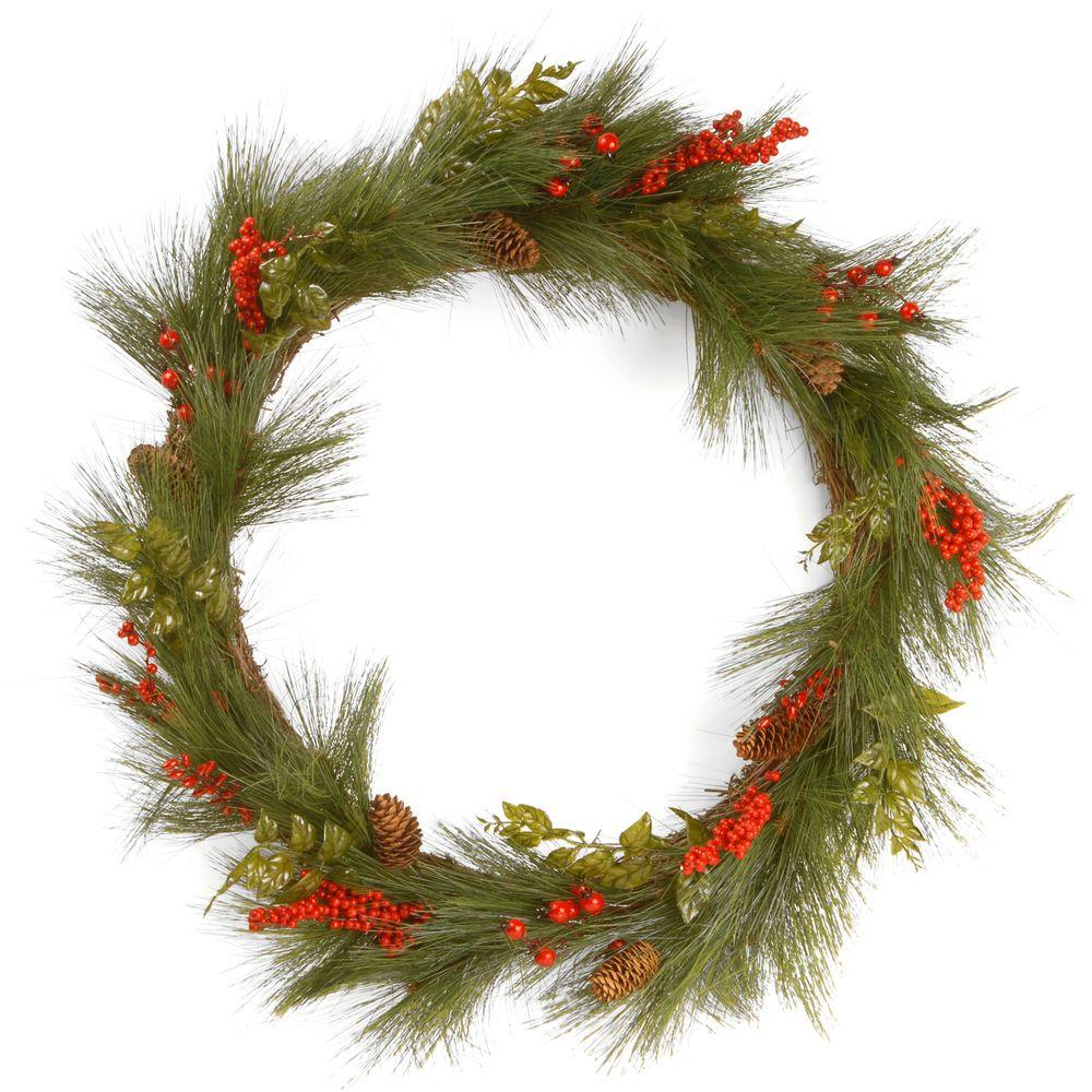 30 in. Mixed Bristle Pine Wreath