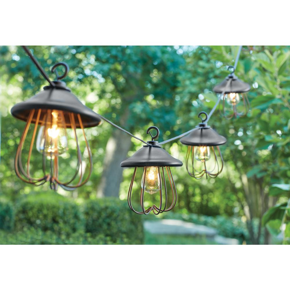 Hampton bay 8 light decorative bronzed patio cafe string light kf98060 the home depot - Decorative garden lights ...