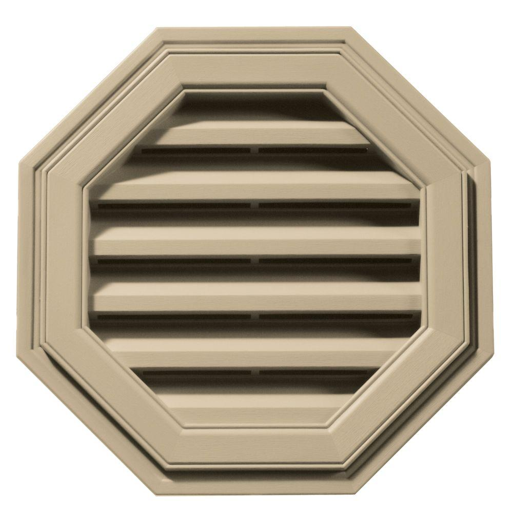 18 in. Octagon Gable Vent in Light Almond