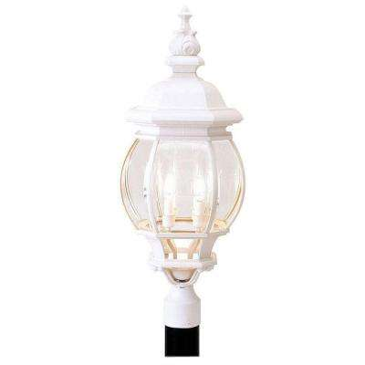 4-Light Outdoor White Incandescent Post Lantern