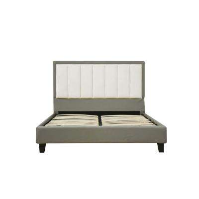 Filart Gray and Cream PU Queen Bed