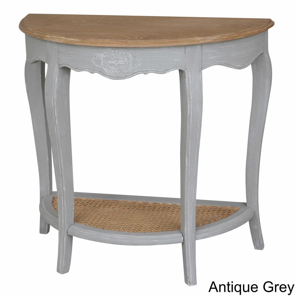 Ashbury Stradivarius White Washed Oak Veneer And Antique White Half Moon  Console Table