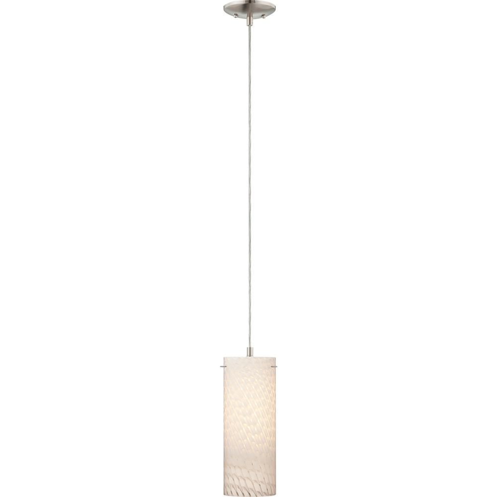 Esprit 1-Light Brushed Nickel Mini Hanging Pendant with White Frit Glass