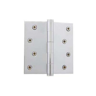 4 in. Button Tip Residential Hinge with Square Corners in Bright Chrome