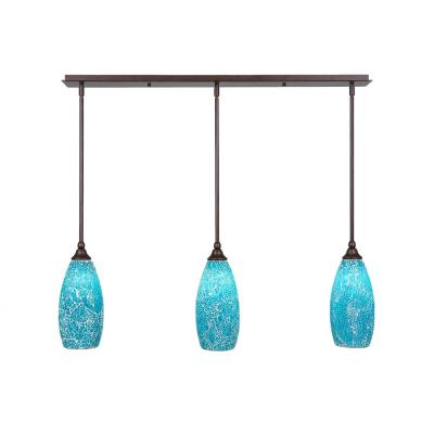 3-Light Bronze Island Pendant with Turquoise Cracked Glass