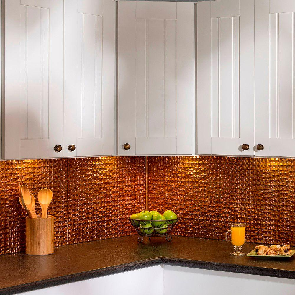 Kitchen Backsplash Corner: Fasade 18 In. Inside Corner Trim In Muted Gold-926-20