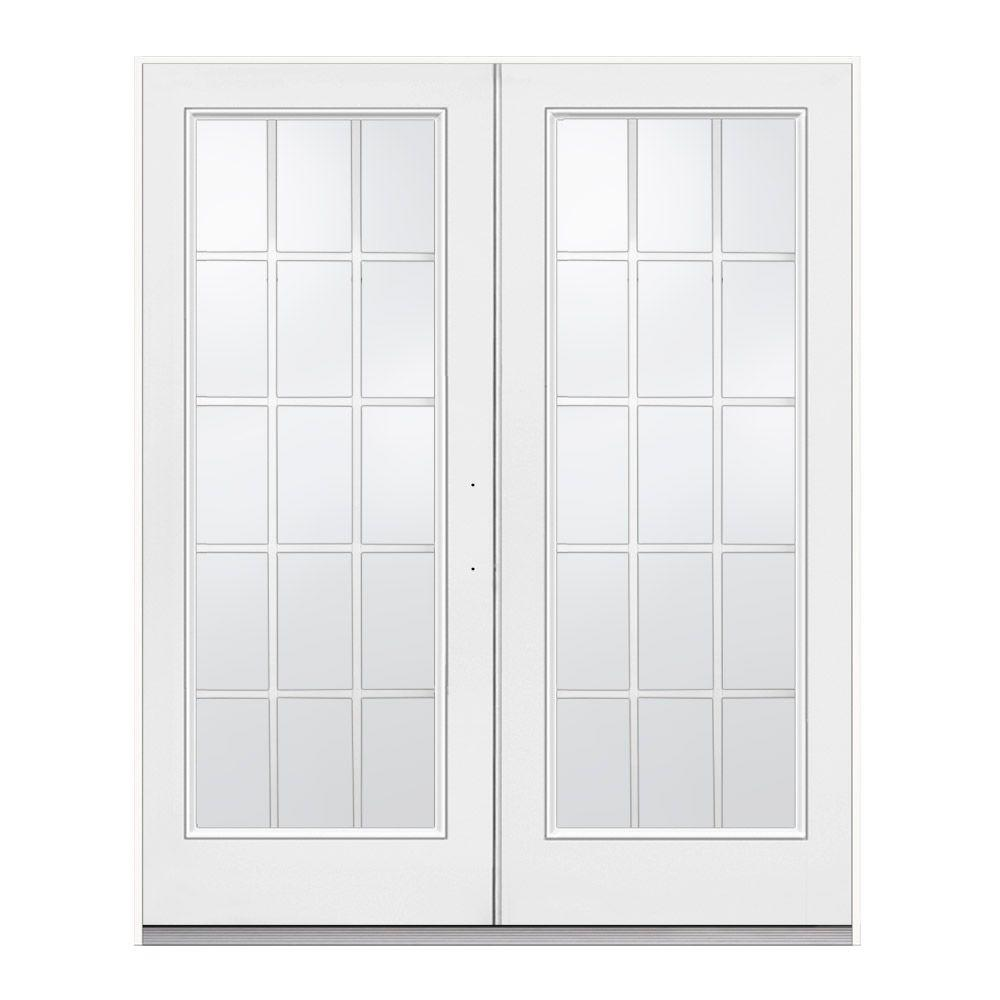 JELD-WEN 72 in. x 80 in. White Left-Hand Inswing Steel French ...