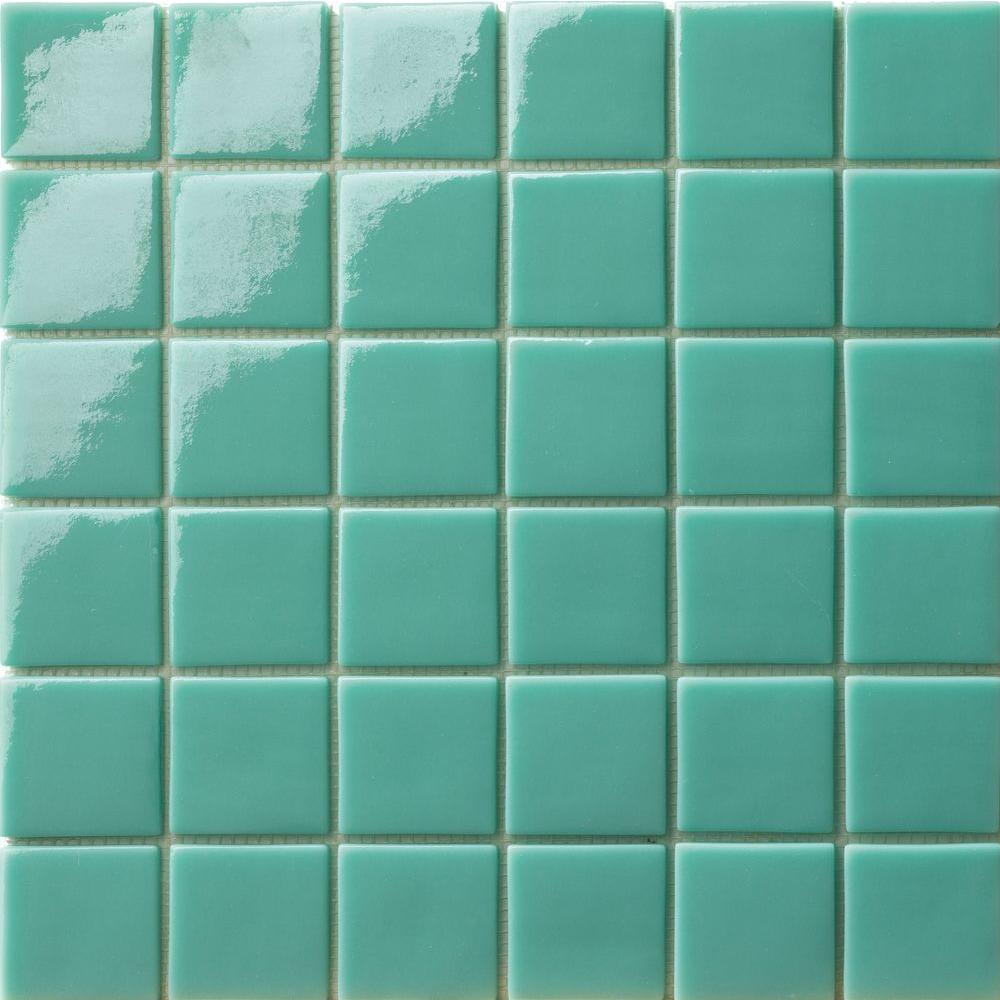 Elementz 12.5 in. x 12.5 in. Capri Tormalina Glossy Glass Tile-DISCONTINUED