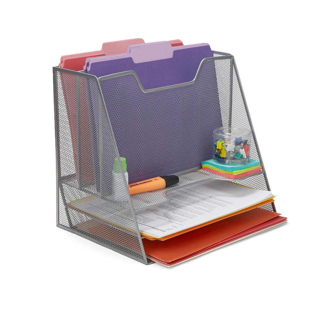 5-Compartment Mesh Desk Storage Organizer in Silver
