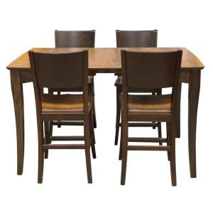 AmeriHome 60 in. x 38 in. Maple Hardwood Dinning Table Set with ...