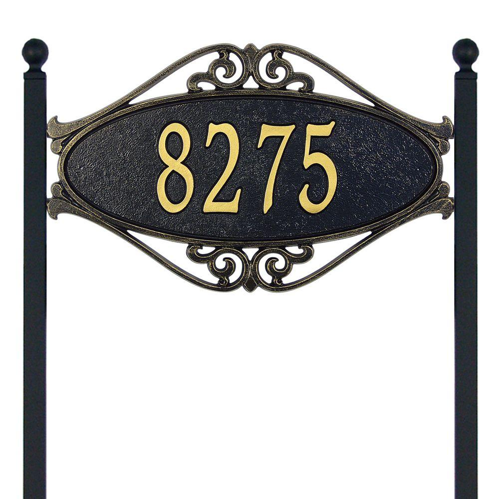 Hackley Fretwork Oval Black/Gold Standard Lawn One Line Address Plaque