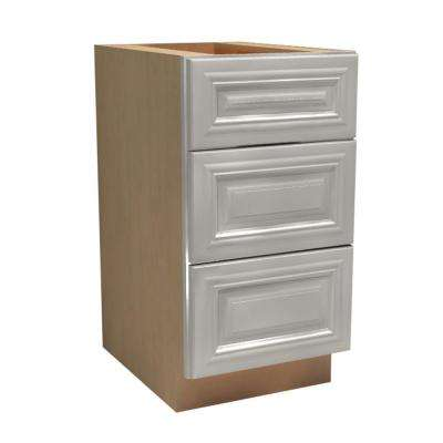 12x34.5x21 in. Coventry Assembled Vanity Base Cabinet with 3 Drawers in Pacific White