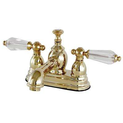 Vintage Crystal 4 in. Centerset 2-Handle Bathroom Faucet in Polished Brass