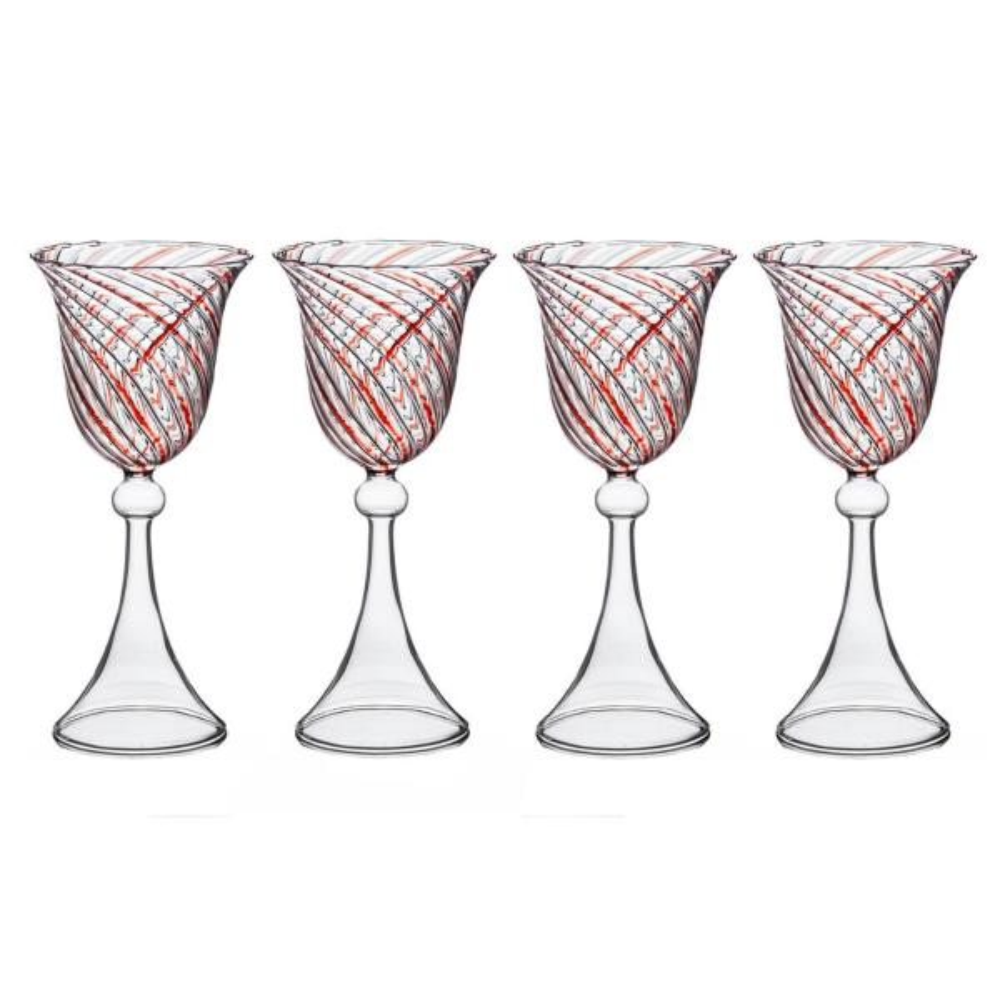 Red Swirl Wine Glass, 6 oz., (Set of 4), 3.5''D x 7.75''H