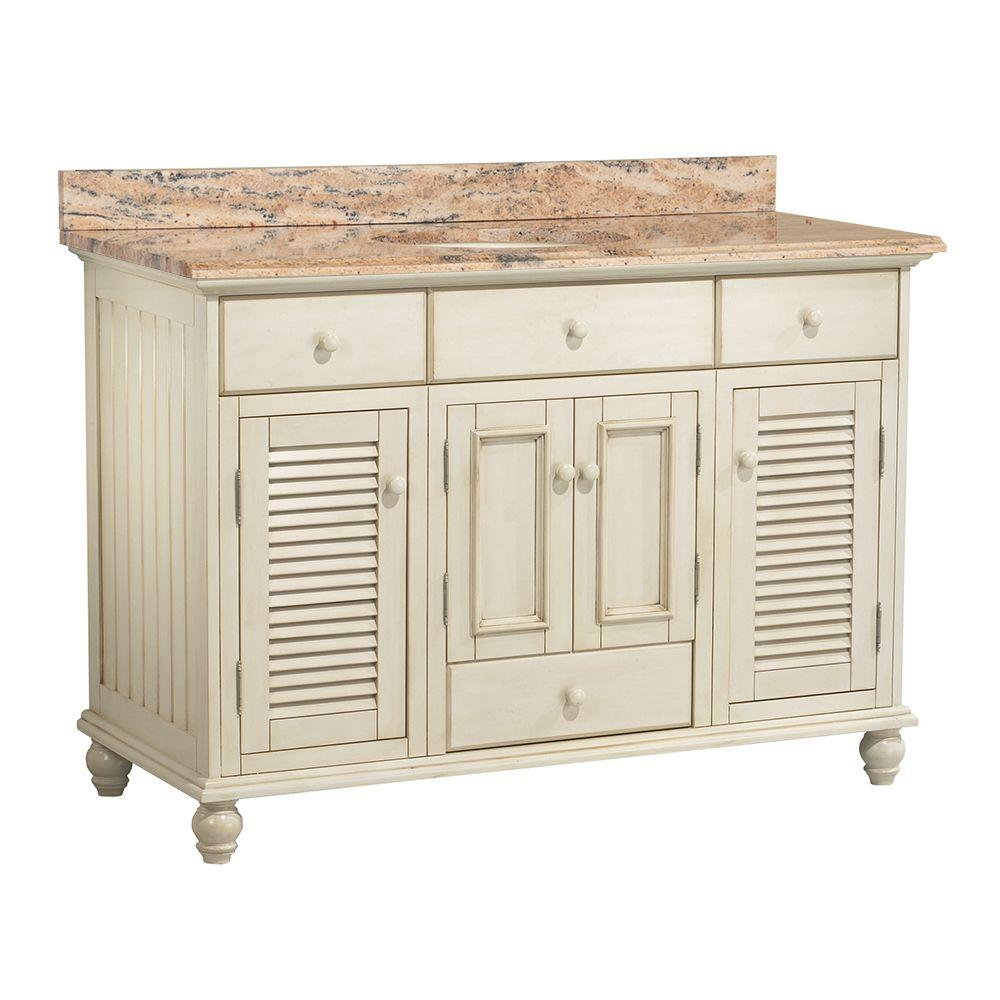 Foremost Cottage 49 in. W x 22 in. D Vanity in Antique White with Vanity Top and Stone Effects in Bordeaux