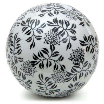 Oriental Furniture 6 in. Decorative Porcelain Ball - White with Black Vines