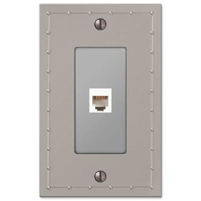 Rosa 1 Gang Phone Metal Wall Plate - Satin Nickel