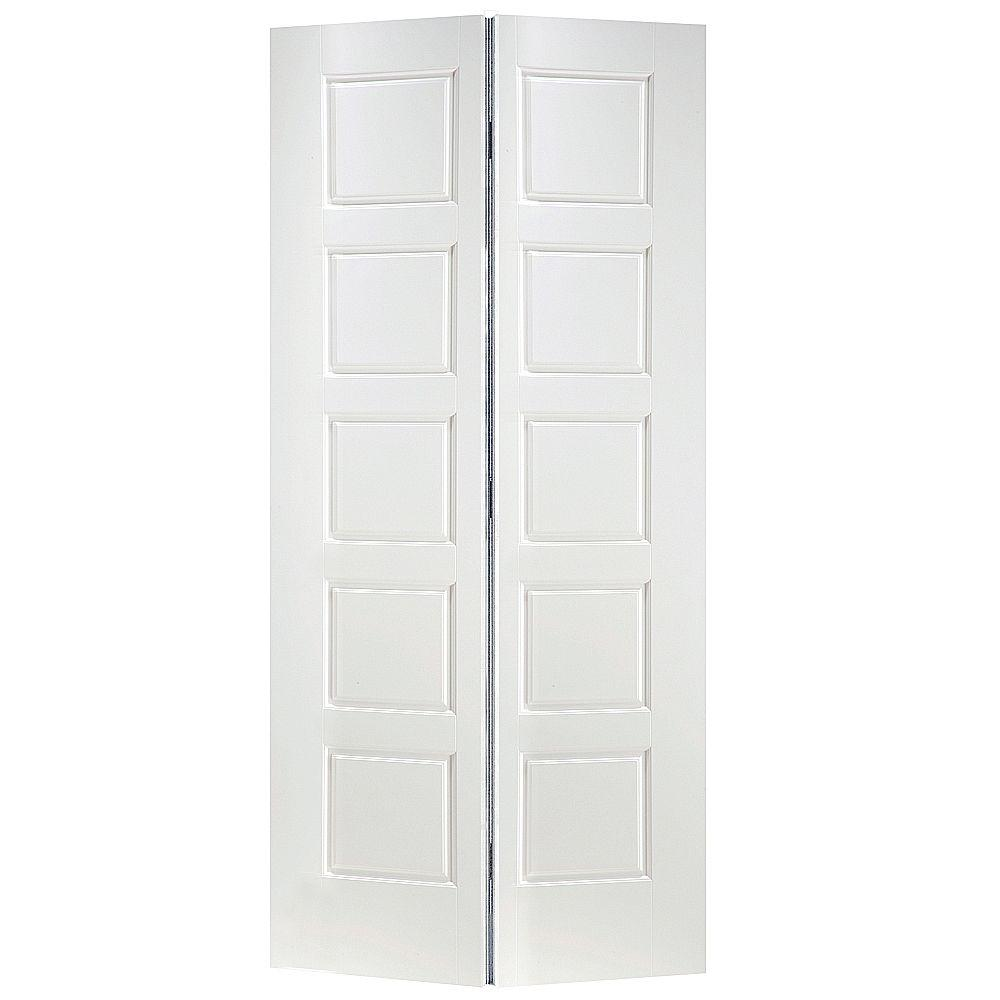 High Quality Masonite 24 In. X 80 In. Riverside 5 Panel Primed White Hollow