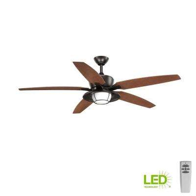 Montague Collection 60 in. LED Antique Bronze Ceiling Fan with Light Kit and Remote