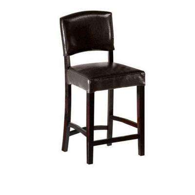 24 in. Brown Cushioned Counter Stool with Back
