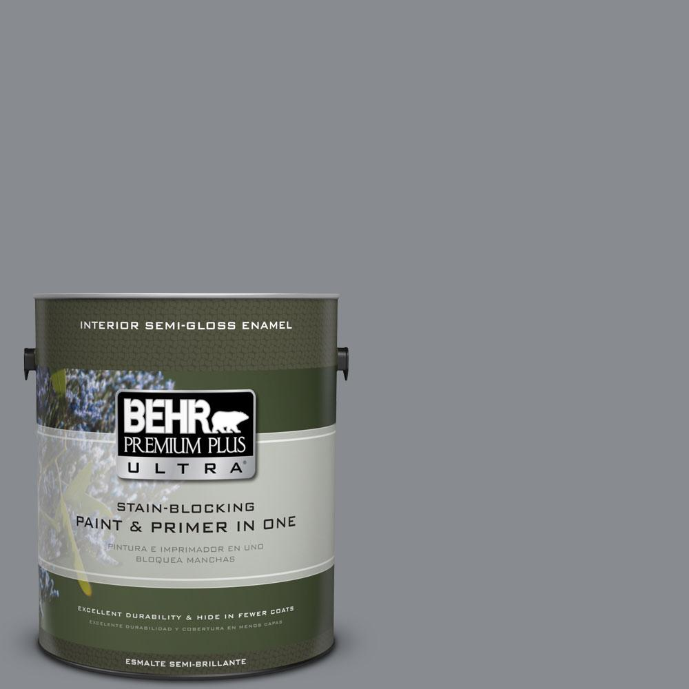 BEHR Premium Plus Ultra 1-gal. #PMD-73 Ancient Pewter Semi-Gloss Enamel Interior Paint
