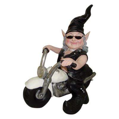 12 in. H Biker Babe the Biker Gnome in Leather Motorcycle Gear Riding Her White Bike Home and Garden Gnome Statue