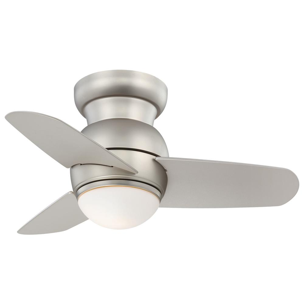 Minka-Aire Spacesaver 26 in. Integrated LED Indoor Brushed Steel Ceiling Fan with Light with Wall Control