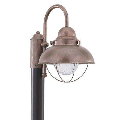 Copper post lighting outdoor lighting the home depot sebring outdoor weathered copper integrated led post light aloadofball Choice Image