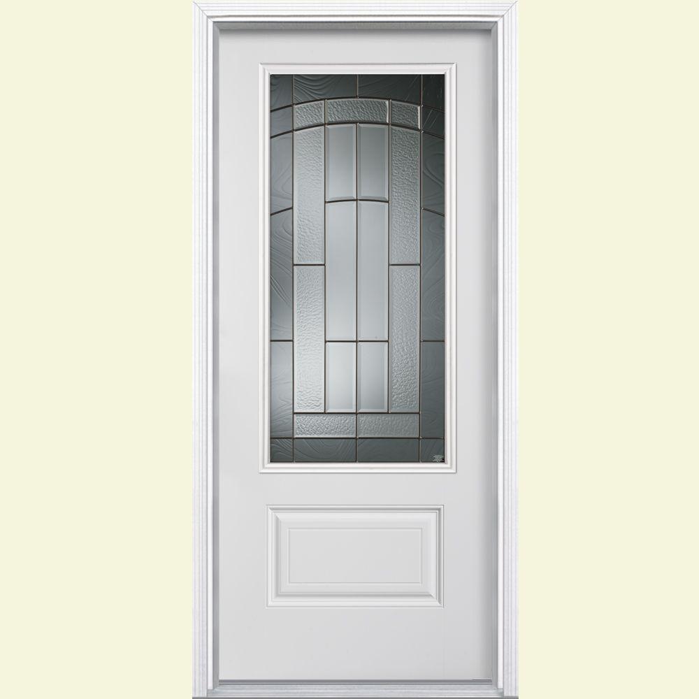 Prehung Exterior Door Home Depot: Masonite 36 In. X 80 In. Croxley Three Quarter Rectangle