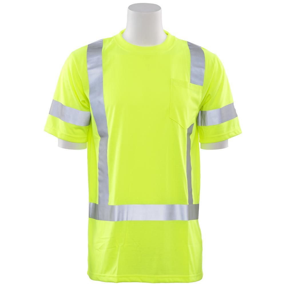 9801S 5X Class 3 Short Sleeve Hi Viz Lime Unisex Poly Jersey T-Shirt