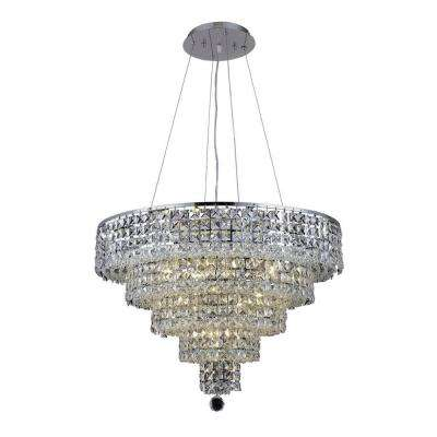 14-Light Chrome Chandelier with Clear Crystal