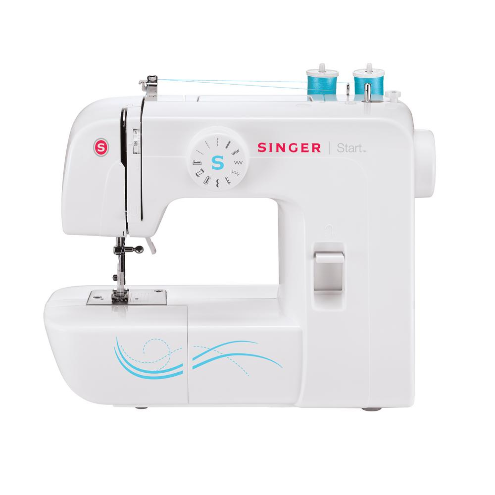 Start 6-Stitch Sewing Machine, White The Singer Start sewing machine gives beginning sewists and hobbyists just enough features to get their creativity off the ground. Perfect for beginners and hobbyists. All-Purpose Foot, Zipper Foot, Buttonhole Foot, Darning Plate, Pack of Needles, Bobbins, Needle Plate Screwdriver, Spool Pin Felts, Seam Ripper / Lint Brush, Power Line Cord, Foot Control, Quick Start Guide, Instruction Manual. Color: White.