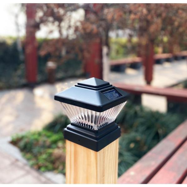 Relightable Solar 4 in. x 4 in. Black Vinyl Outdoor Post Cap Deck LED Lights (4-Pack)