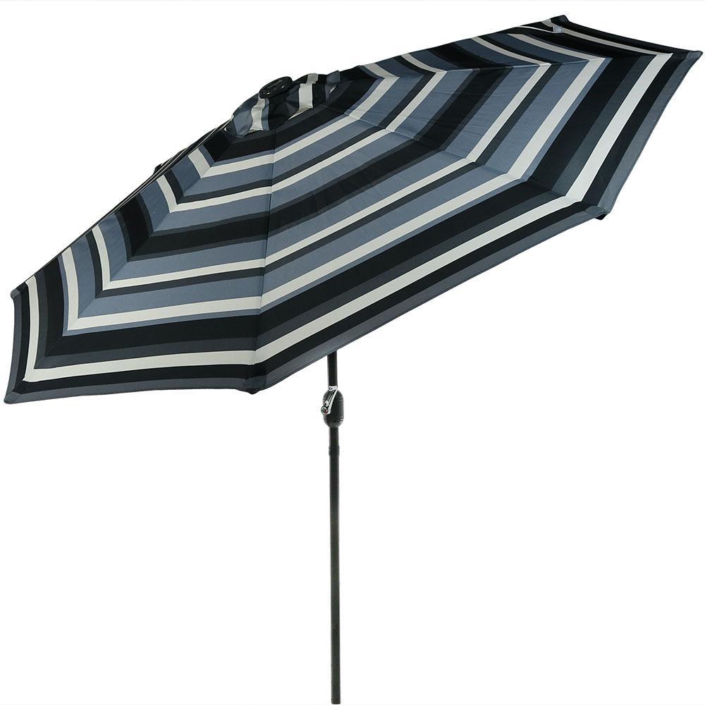9 ft. Aluminum Market Solar Tilt Patio Umbrella in Catalina Beach Stripe