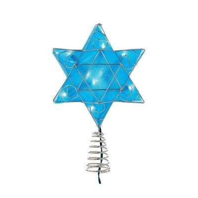 UL 10-Light LED Silver and Blue Hanukkah Star Shimmer Treetop